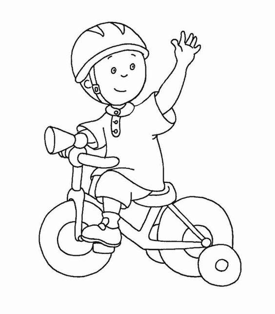 Tranh tô màu bé trai đi xe đạp
