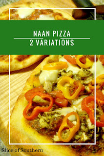 Naan Pizzas are the perfect individual pizza for a party!  The Pest Chicken Pizza version is the bomb!  Slice of Southern