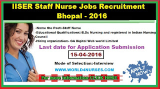 IISER Staff Nurse Jobs Recruitment 2016 in Bhopal