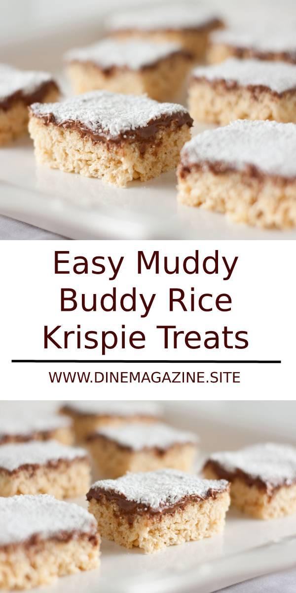 Easy Muddy Buddy Rice Krispie Treats Recipe #easysnack #desserts #chocolate #snacks #ricekrispie #treats #easytreats #easter