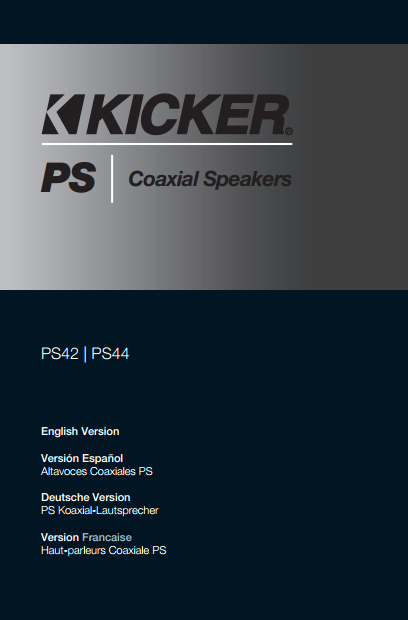 Kicker PS4 Coaxial Speakers Manual