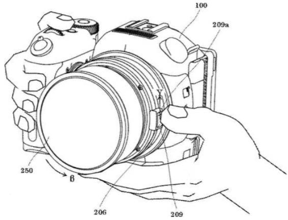 Изображение из патента в котором описывается видеокамера Canon со сменной оптикой