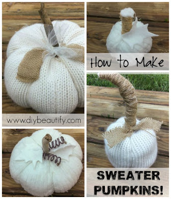 Get the tutorial for these fabulous sweater pumpkins at diy beautify!