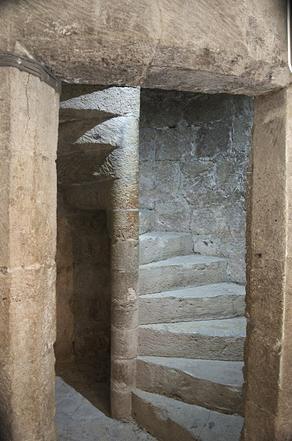 Moving around the castle was only possible through small stairs. Inside he castle in Kolossi, Cyprus.