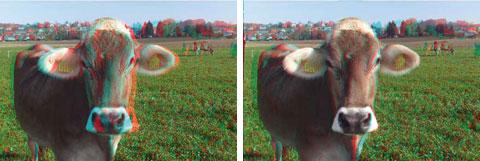 Left: original 3-D image; right: depth optimization to reduce vergence problems