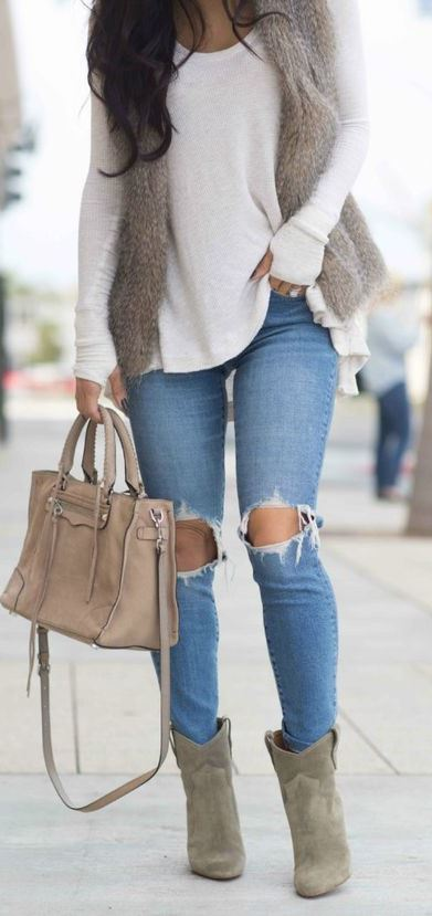 awesome winter outfit / fur vest + white sweater + nude bag + skinnies + boots