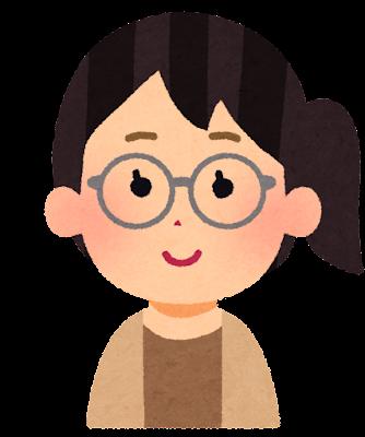 眼鏡をかけた女性のイラスト(丸メガネ)