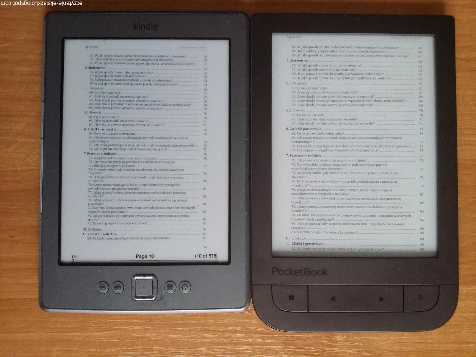 porównanie czytników e-booków PocketBook TouchHD2 i Kindle Classic
