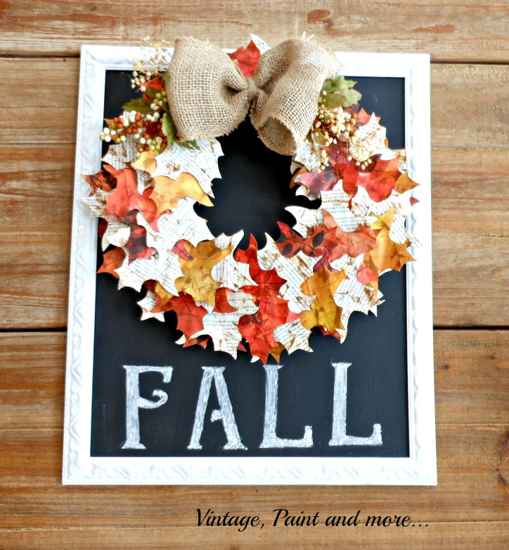 Vintage, Paint and more... Fall wreath made from paper and grapevine form mounted on chalkboard
