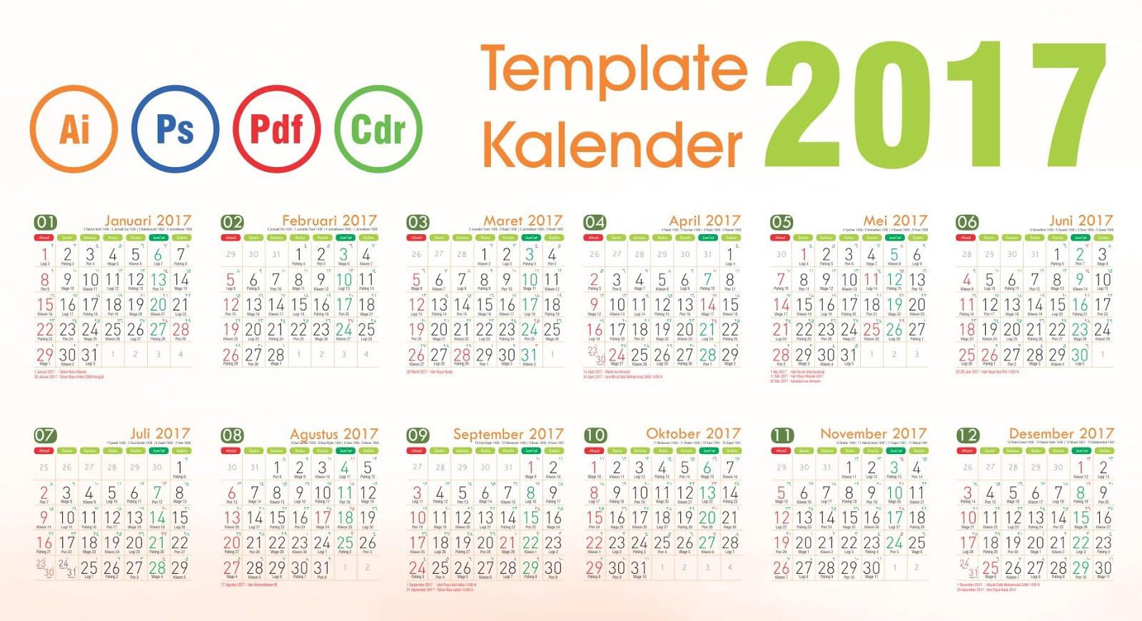 Template kalender 2017 undangan, kalender dinding 2017, kalender meja ...