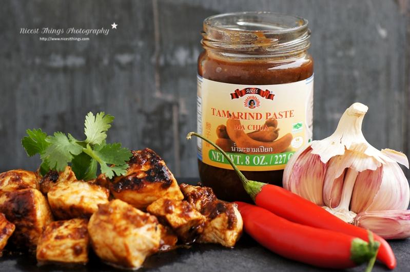 Kochen mit Tamarindenpaste Rezept für Haehnchen Spiesse