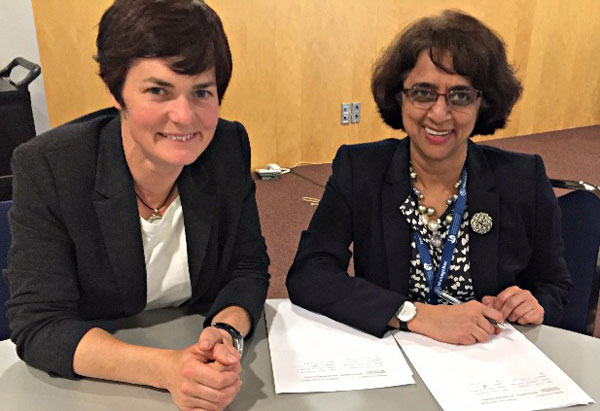 Dame Ellen MacArthur (left) with Dr Siva Kumari at the signing of an educational partnership with the International Baccalaureate (see below).