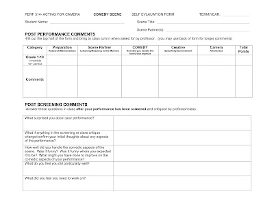ScadPerf  Acting For Camera Comedy Scene Self Evaluation Form