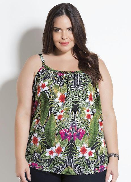 Blusa de Alças Mix Floral Plus Size Marguerite