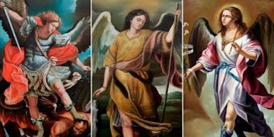 imagem dos Arcanjos Miguel, Gabriel e Rafael