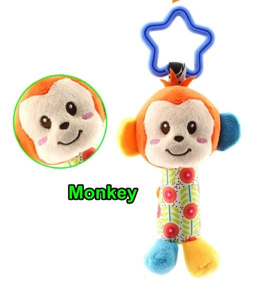 BongBongIdea: HAPPY MONKEY BABY RATTLE WITH SOUND AND HANGER 13CM
