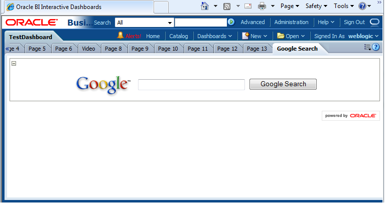 Add Google Search on the OBIEE dashboard page | The Big Data