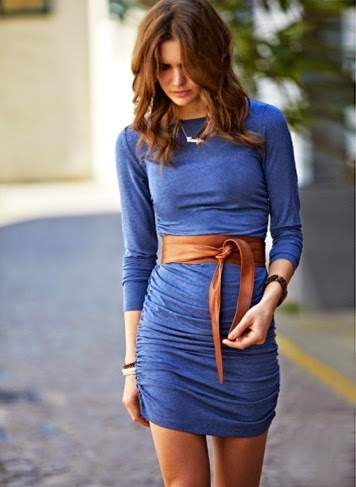 Wearing a Blue Dress with Obi Belt for Spring 2015