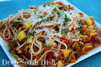A fresh tomato pasta sauce, made with garden vegetables - peppers, squash, zucchini, corn, eggplant, okra, beans - whatever you have! For a protein boost, add leftover roasted chicken, seasoned and sauteed shrimp, cooked ground beef, sausage, or other meats.