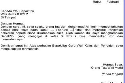 Contoh Surat Izin Sekolah Sd Smp Dan Smk Sma Santri Majapahit