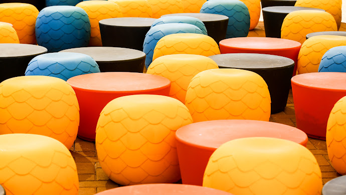 Wallpaper: Chairs. Tables. Colors. Design