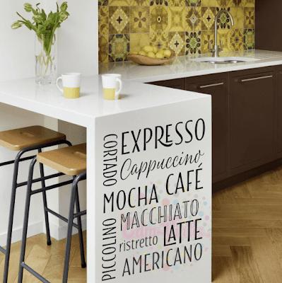 vinilo decorativo pared cocina frase tipos de cafe tipografico