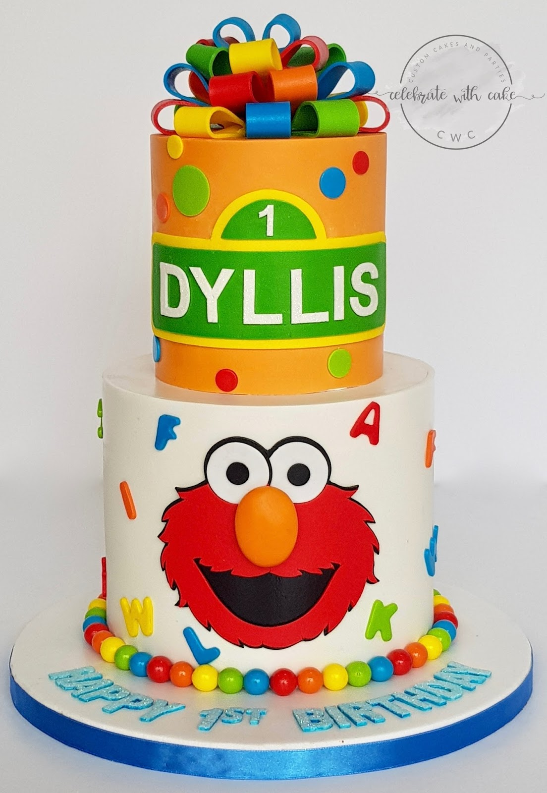 Sesame Street With Elmo And Loopy Bows 2 Tiers Cake