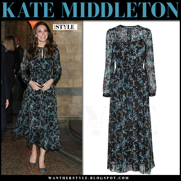 Kate Middleton in black blue multi print silk dress lk bennett cersei what she wore