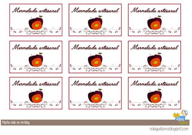 Etiquetas para descargar gratis de mermelada de ciruela roja. Rectangulares para el lateral del tarro