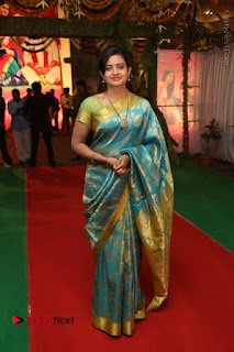 Actress Indraja Stills in Blue Silk Saree at Shatamanam Bhavathi Audio Launch  0038.JPG