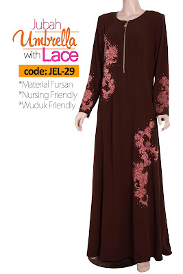 Jubah Umbrella Lace JEL-29 Brown Depan 3