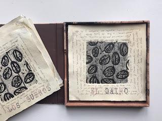 linografía transferencia libro de artista caja