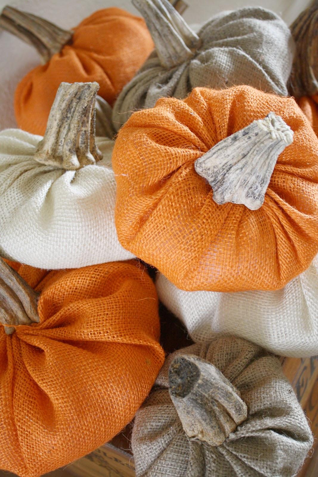 DIY Burlap Pumpkins With Real Stems