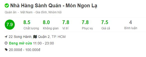 Thang điểm đánh giá của foody.vn
