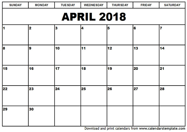April 2018 Calendar, April 2018 Calendar Printable, April 2018 Calendar Template, April Calendar 2018, Free April 2018 Calendar