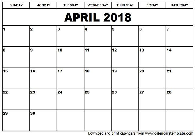 April 2018 Calendar, April 2018 Calendar Printable, April 2018 Calendar Template, April Calendar 2018, Free April 2018 Calendar