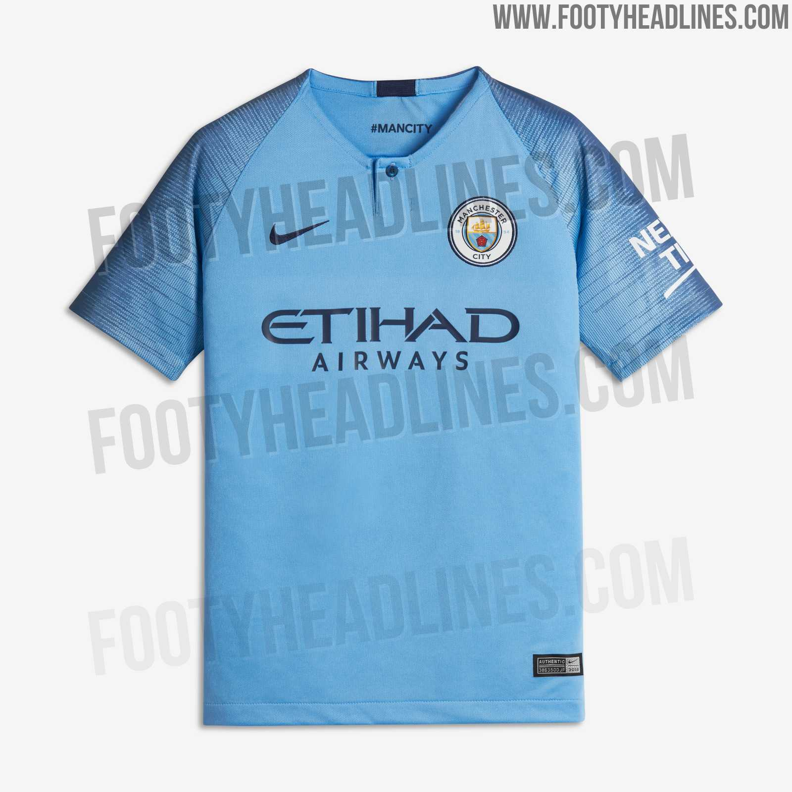 6e722c61f While the Etihad Airways tag on the front of the Manchester City 18-19 home  kit is navy, as is the Swoosh on the right chest, the Nexen Tires sleeve  sponsor ...
