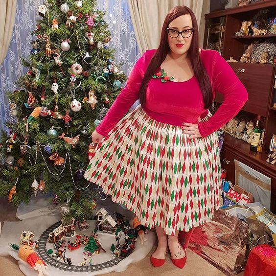 Pinup Couture Genevieve Dress in Holiday Harlequin