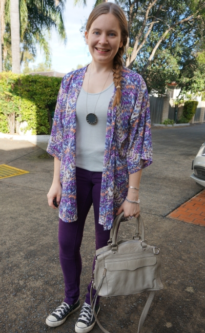 purple printed kimono skinny jeans converse SAHM autumn style Rebecca Minkoff MAM bag | awayfromblue