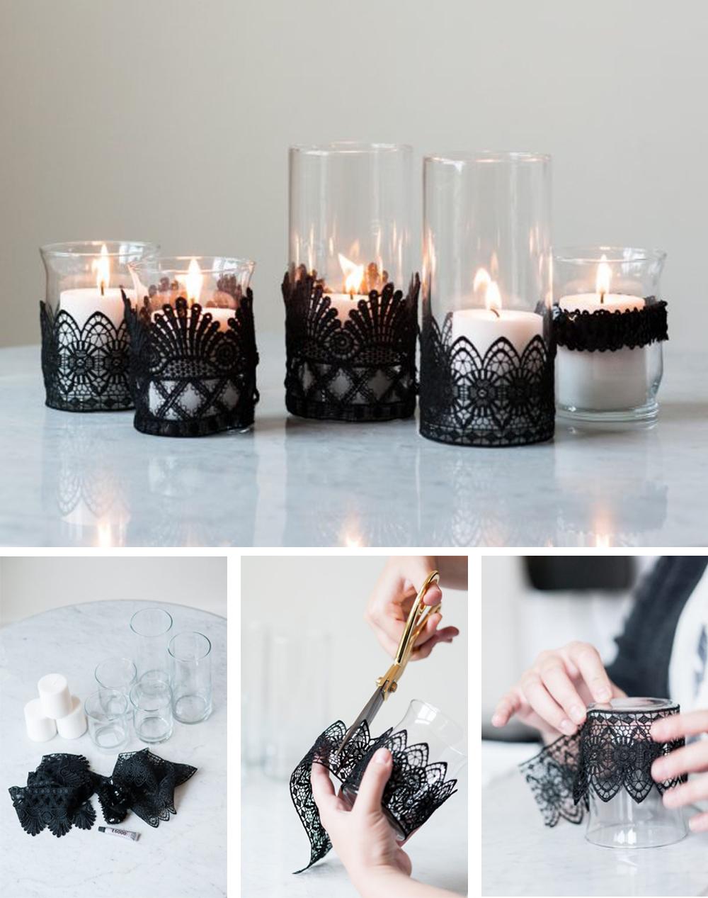 diy para decorar en halloween con portavelas tenebroso de encaje negro fácil y económico