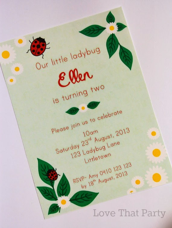 Ladybug Garden Printable Party Invitation - Love That Party. www.lovethatparty.com.au