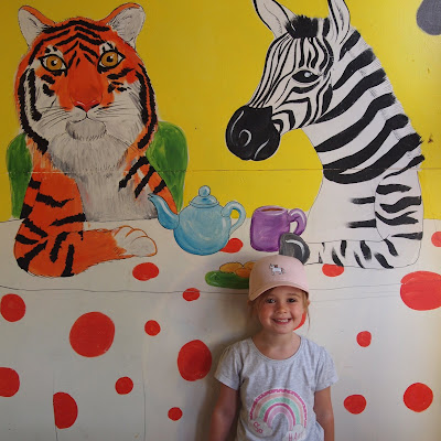 Paradise Wildlife Park has so much to discover, Phoebe loved these paintings inside the playhouses in one of the play areas