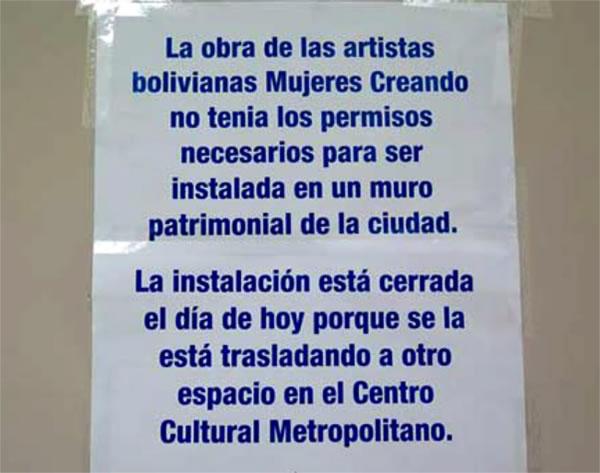 Comunicado Mural de Mujeres Creando