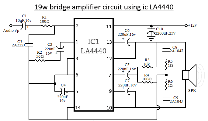LA4440    Bridge    Amplifier    Circuit       Diagram      Circuits    Diagram    Lab