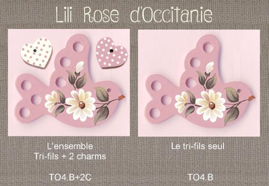 """Tri-fils bois peint """"Oiseau rose & marguerites"""" + charms assortis. Broderie et point de croix"""