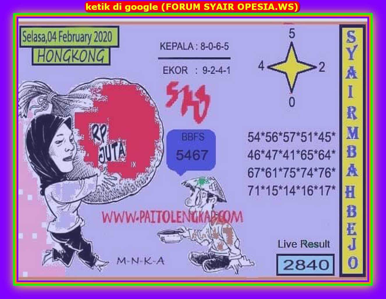 Kode syair Hongkong Selasa 4 Februari 2020 152
