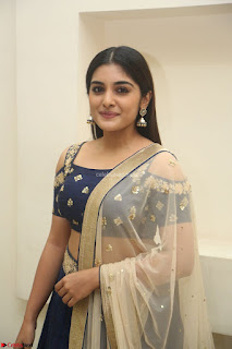 Niveda Thomas in Lovely Blue Cold Shoulder Ghagra Choli Transparent Chunni ~  Exclusive Celebrities Galleries 013