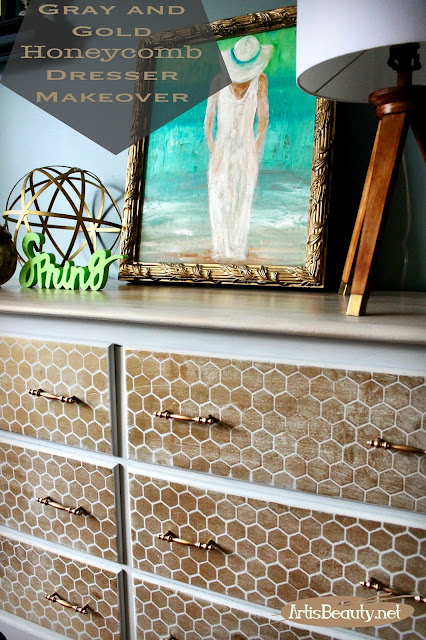 gray and gold distressed honeycomb stencilled dresser painted makeover deco art americana diy