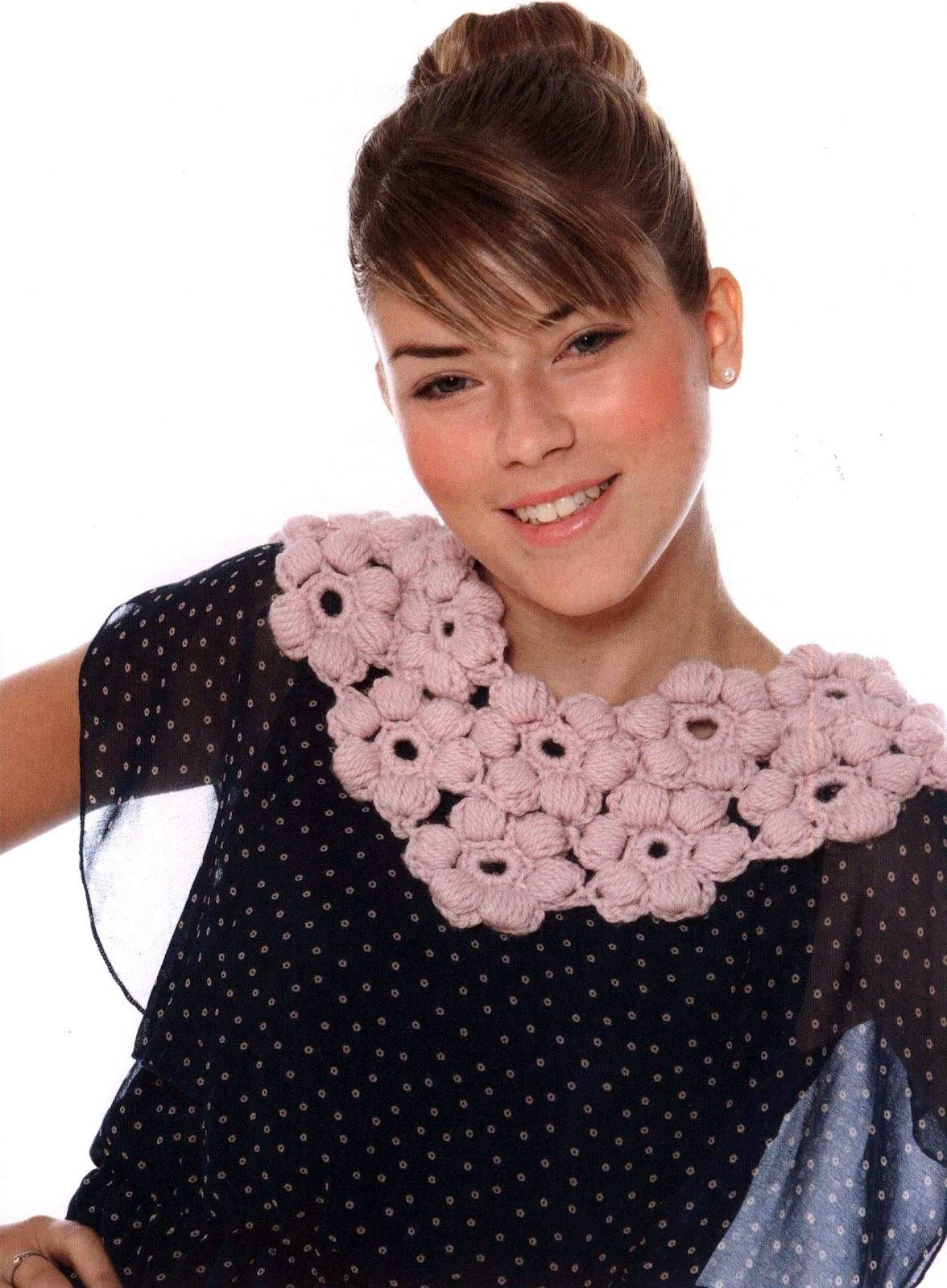 Cuello de Crochet Flores Patron
