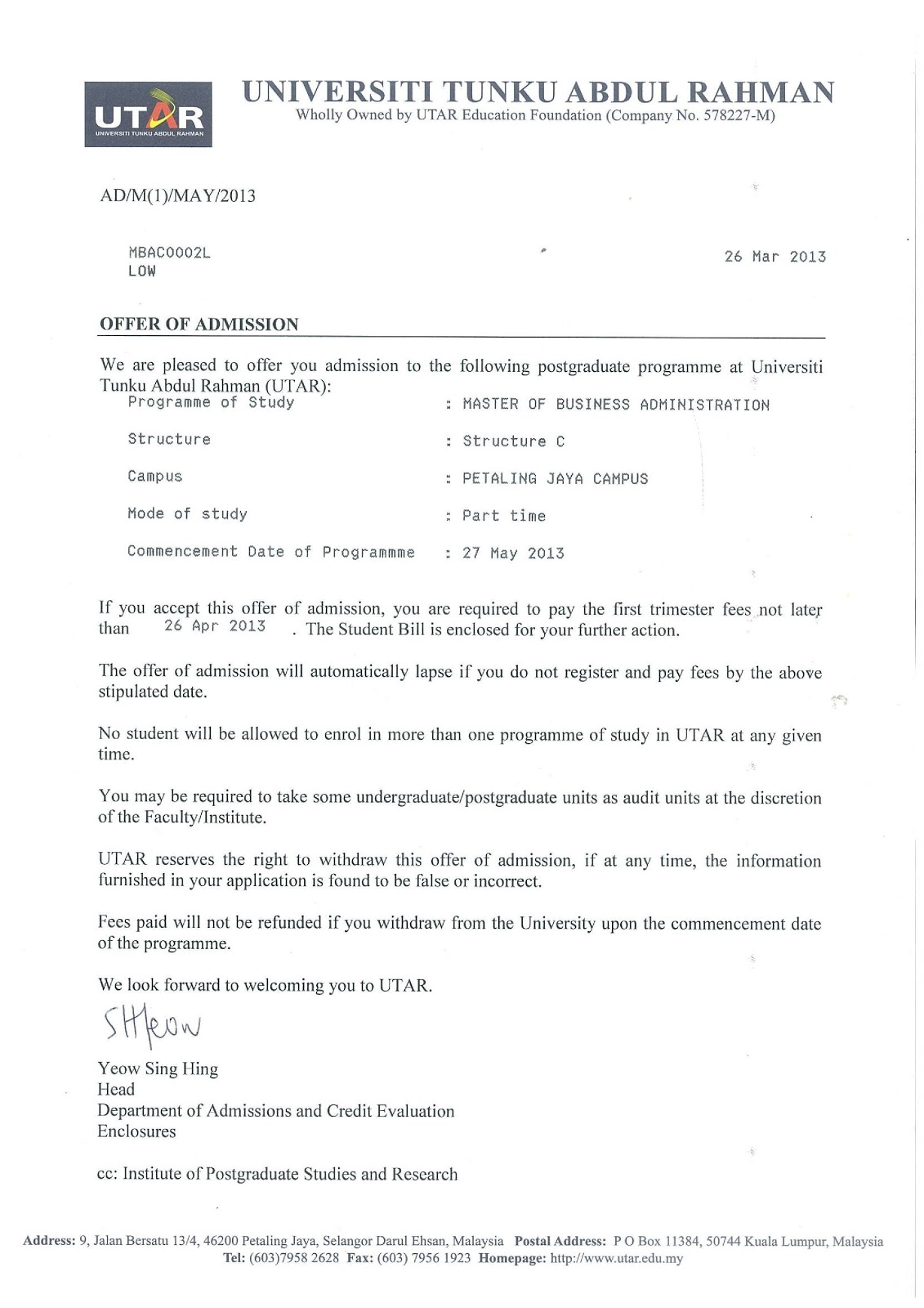 Utar Part Time Mba Study Diary Letter Of Offer And 1st Student Bill